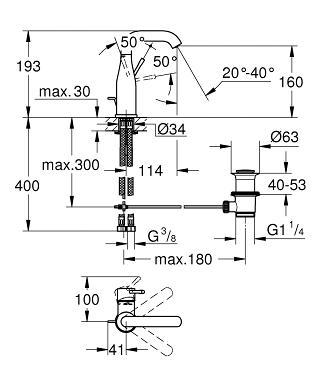 Grohe Essence Einhand-Waschtischbatterie DN 15 M-Size 23462001 ...