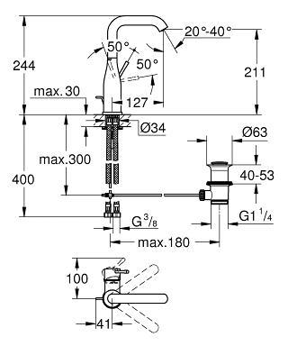 Grohe Essence Einhand-Waschtischbatterie DN 15 L-Size 32628001 ...