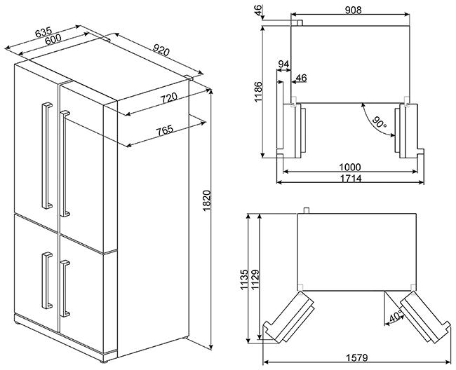 smeg fq75xped side by side k hlschr nke. Black Bedroom Furniture Sets. Home Design Ideas