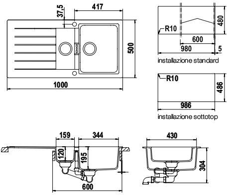 schock signus d150a synthetische sinkt. Black Bedroom Furniture Sets. Home Design Ideas