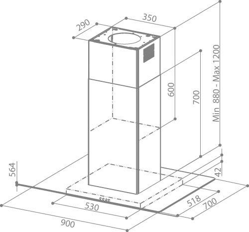 faber glassy isola sp eg8 x v a90 island hood. Black Bedroom Furniture Sets. Home Design Ideas