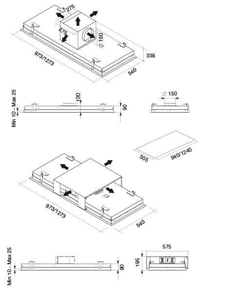 Falmec Design Stella Ceiling 90 Cm Under Cabinet Range