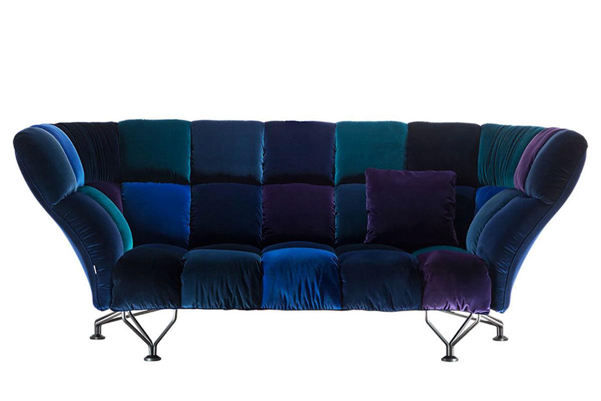 Driade 33 cuscini all fabric 876301 sofa - Divano velluto blu ...