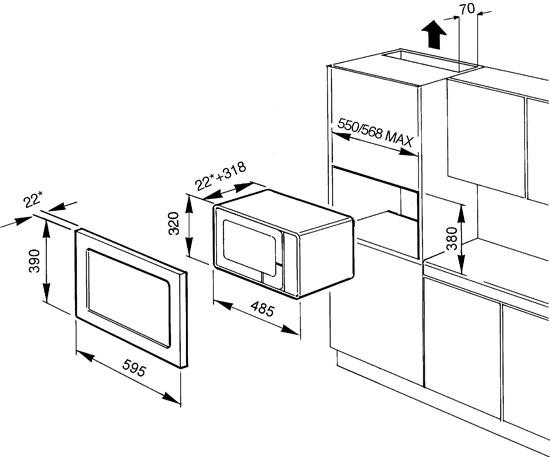 Smeg fme20ex3 microwave built in for Dimensiones horno empotrado