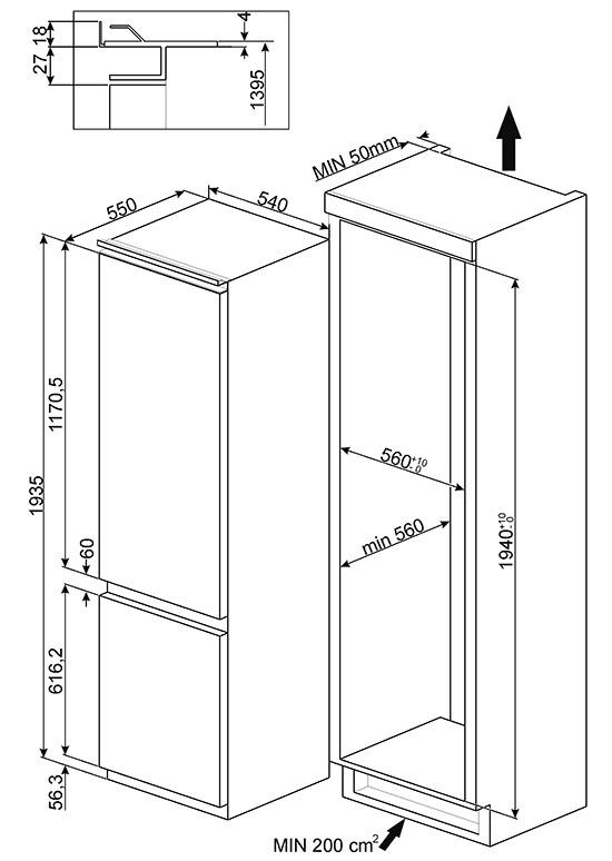 smeg c3202f2p refrigerators built in. Black Bedroom Furniture Sets. Home Design Ideas
