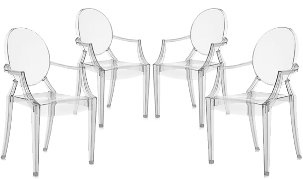 Kartell set of 4 chairs louis ghost set of 4 chair for Chaise louis ghost kartell
