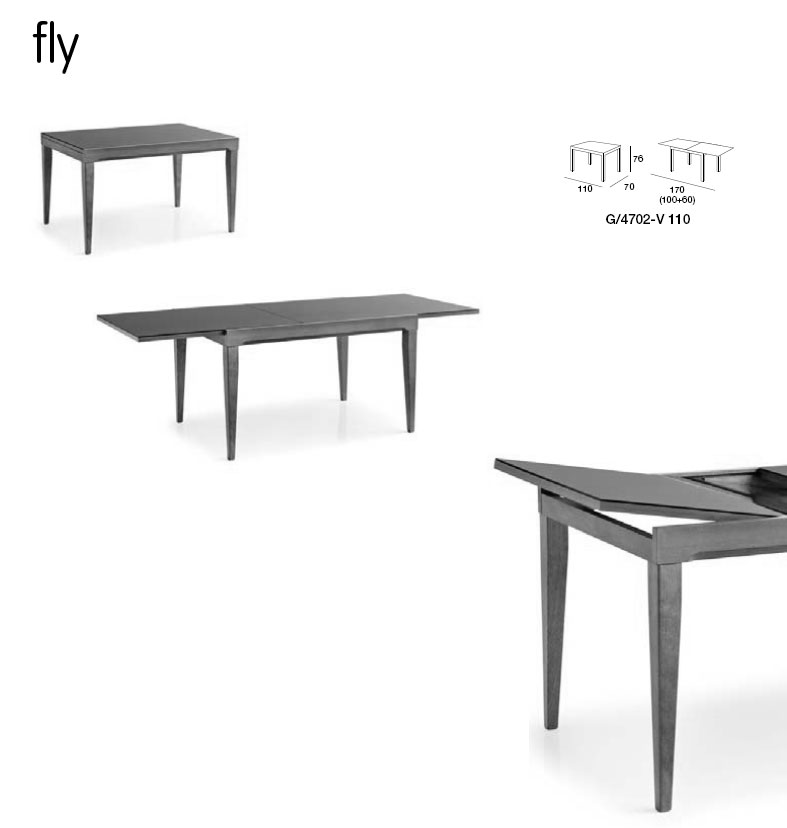 Fly table extensible simple connubia calligaris fly cbv for Table salle a manger extensible fly