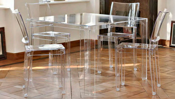 Kartell invisible table 5070 table for Table a manger transparente