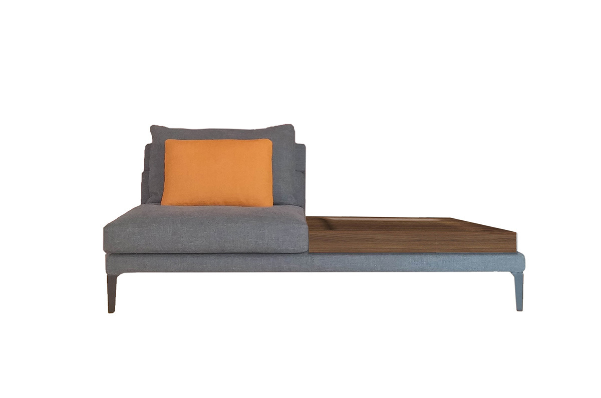 Driade megara central element with a small table right sofa for Sofa central table