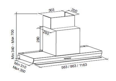 Falmec design virgola mur 90 cm for Cappa virgola falmec