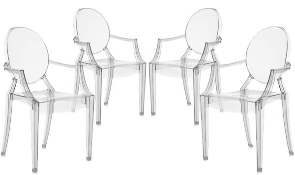 kartell lot de 4 chaises louis ghost setx4 4852 lot 4. Black Bedroom Furniture Sets. Home Design Ideas