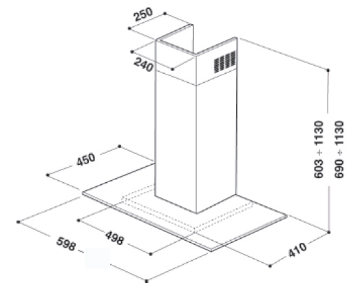 ignis aks 603 ix cappa a parete. Black Bedroom Furniture Sets. Home Design Ideas