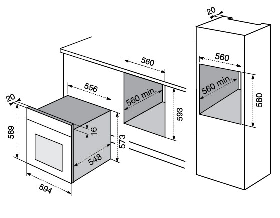 Electrolux f53x forni - Misure forno da incasso ...