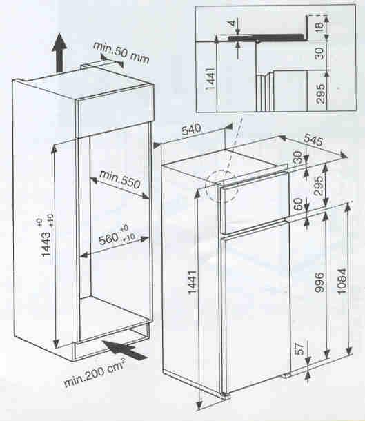 Ignis arl 781 a frigoriferi incasso for Dimensioni frigorifero