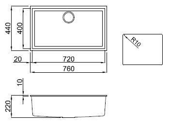 Elleci Quadra 130 Sottotop Vitrotek 3G - vari colori - LVQ130-SOTTOTOP - Lavello Sintetico