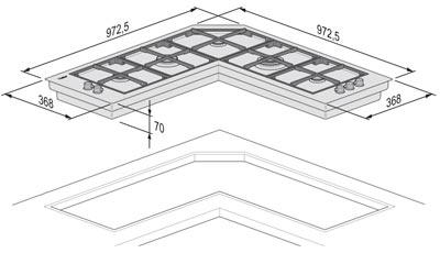 Foster Serie Quadra Angolare - 7238 042 - Piani cottura a gas