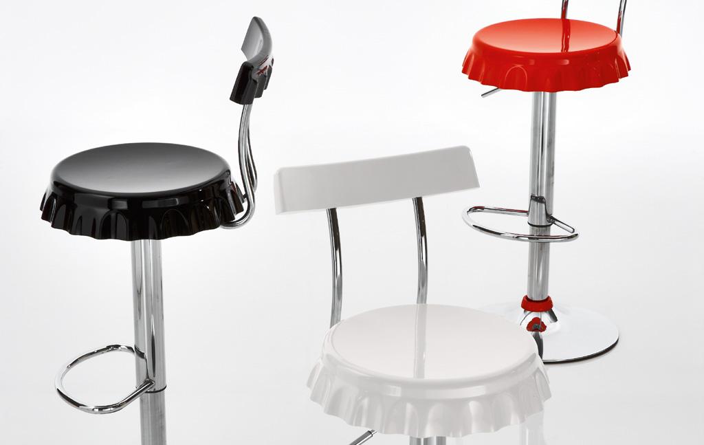 Sgabello tappo con schienale abs base cromata girevole for Sgabelli design offerta