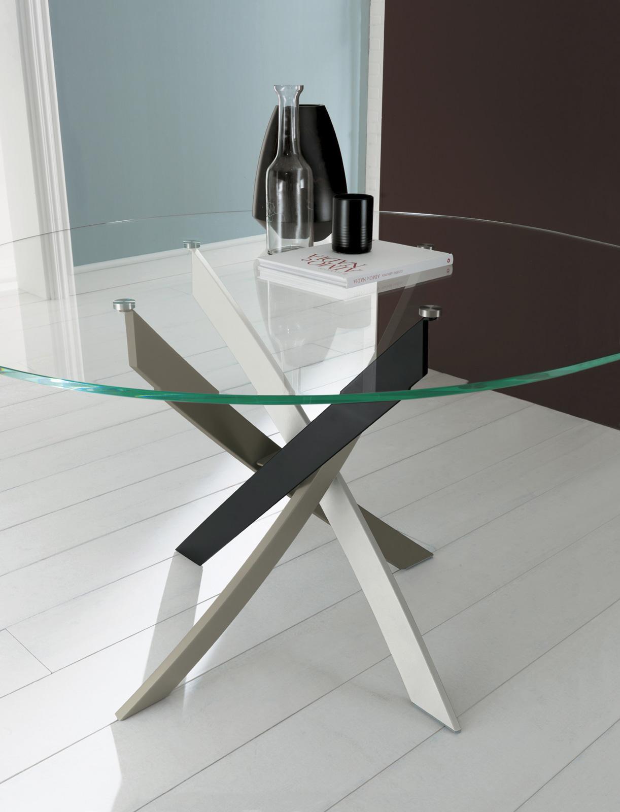 Bontempi barone tavolo for Tavolo ovale cristallo allungabile